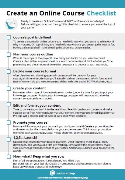 Checklist to create a course as freelancer