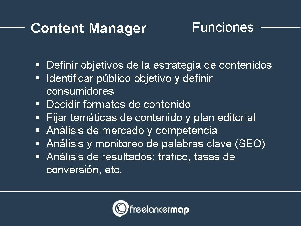 Funciones y tareas del content manager
