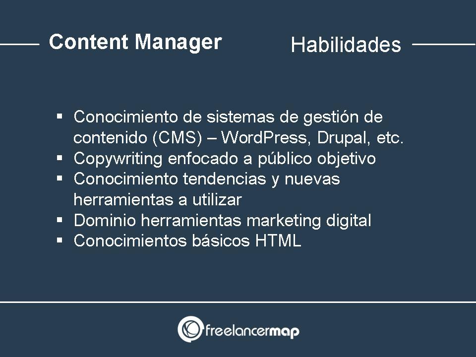 Habilidades y conocimientos necesarios del content manager