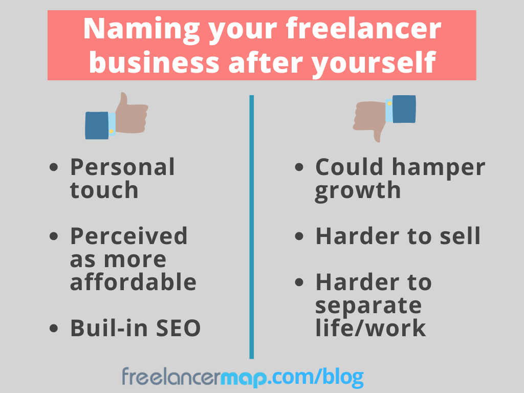 Pros and cons of naming a freelancer business under own name