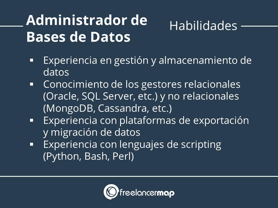 Habilidades y conocimientos - Administrador de bases de datos