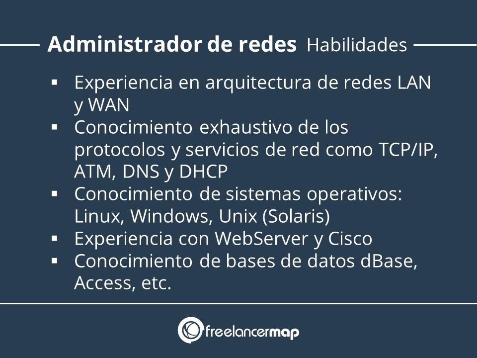 Habilidades y conocimientos requeridos en el trabajo de administador de redes