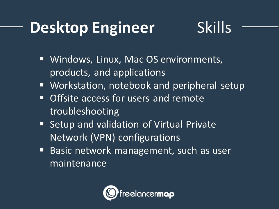 List of skills and knowledge required as desktop engineer