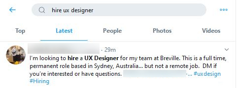 Example Twitter search box hire UX designer