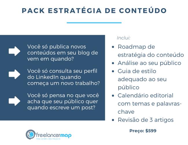 Exemplo de pacote de serviços para estratégia de conteúdo