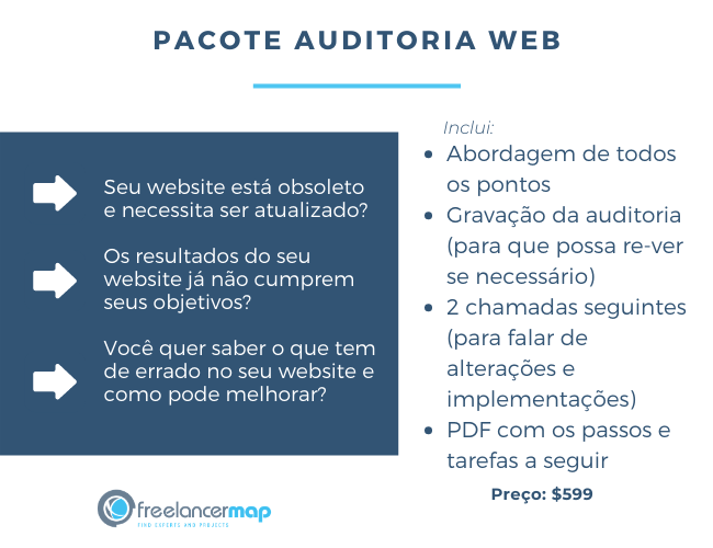 Exemplo de pacote de serviços para auditoria web
