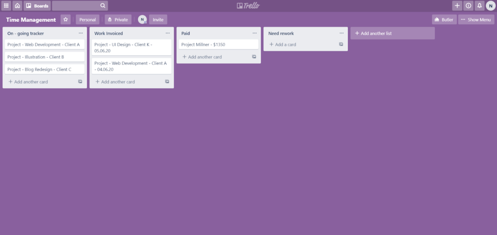 Trello board example for time management