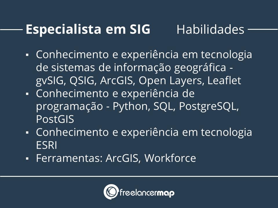Conhecimentos do especialista em sistemas de informação geográfica