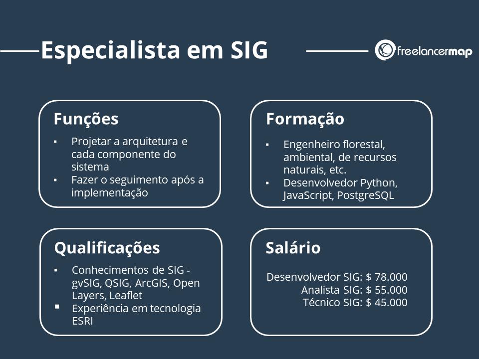 Especialista em sistemas de informação geográfica - Resumo de funções, formação qualificações salário