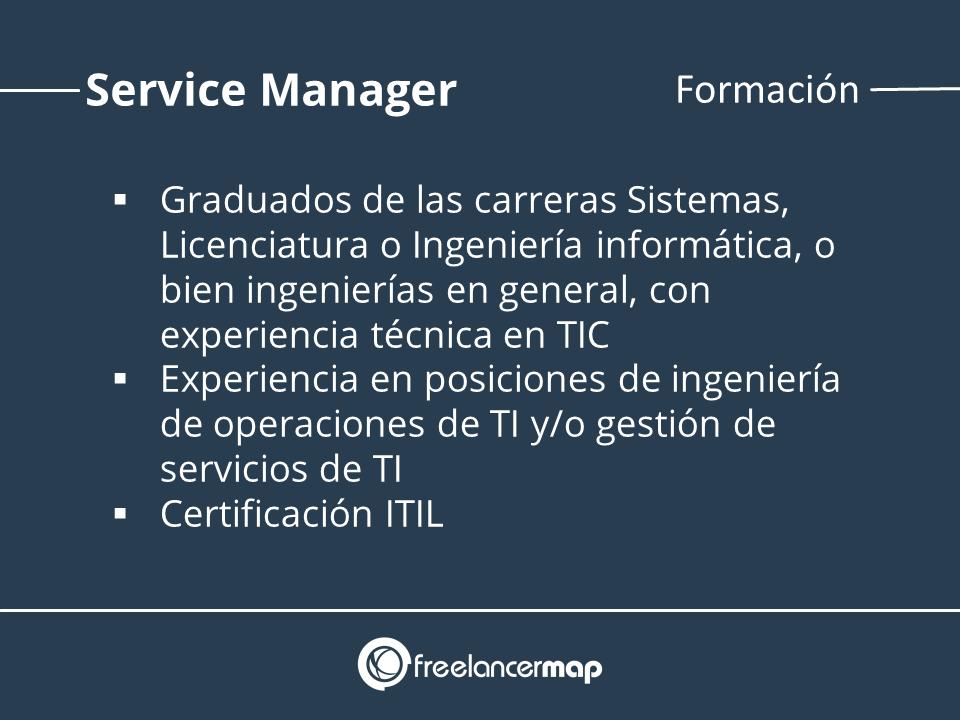 Estudios y formación gerente operaciones y gestion de servicios TI