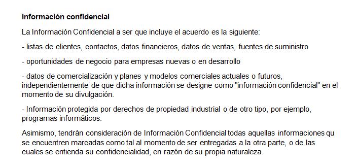 Ejemplo de una cláusula de informacion confidencial en un NDA