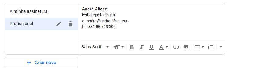 adicionar assinatura ao gmail