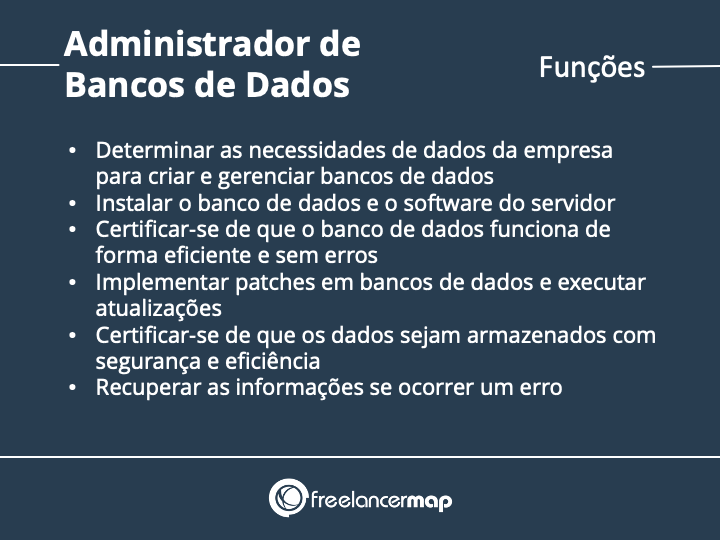 Tarefas e funções do administrador de banco de dados