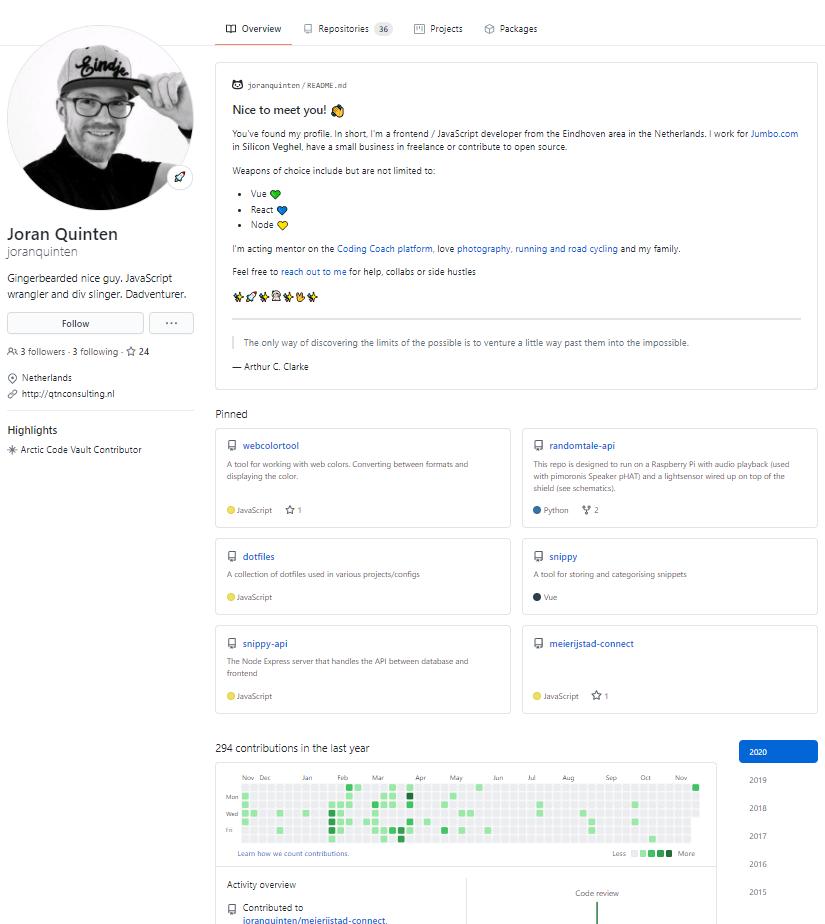 Example of a GitHub profile