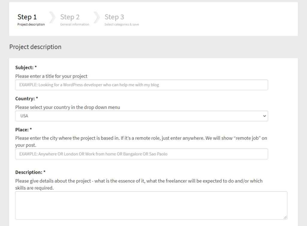 Step 1 posting a job ad - Create the project description