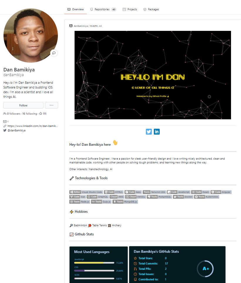 Ejemplo perfil GitHub ingeniero de software