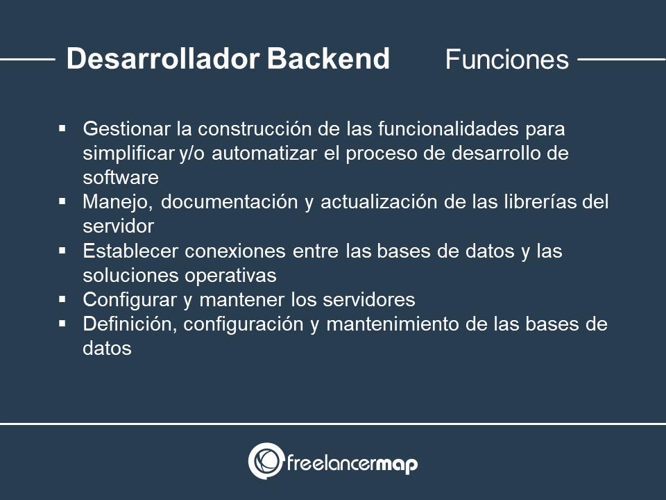 Responsabilidades del desarrollador backend