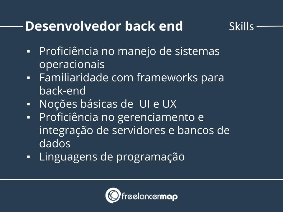 Habilidades de um desenvolvedor back end.