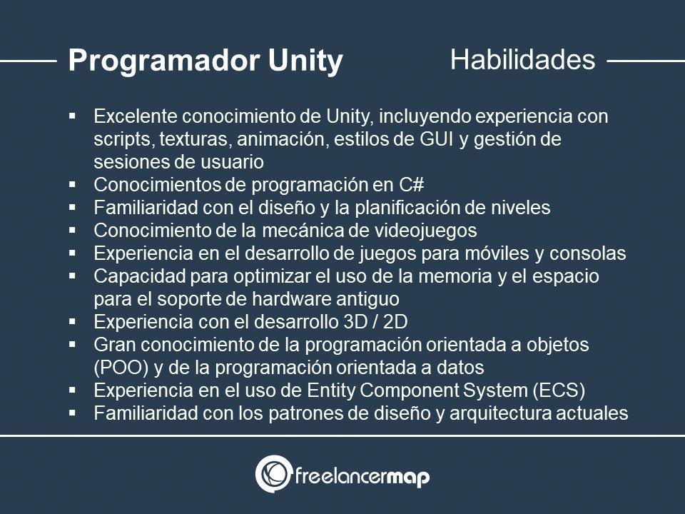 Habilidades y conocimientos del programador Unity