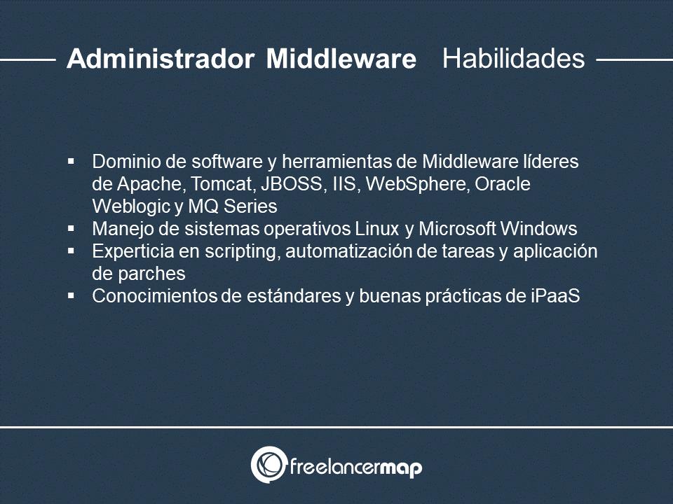 Habilidades y conocimientos del administrador Middleware