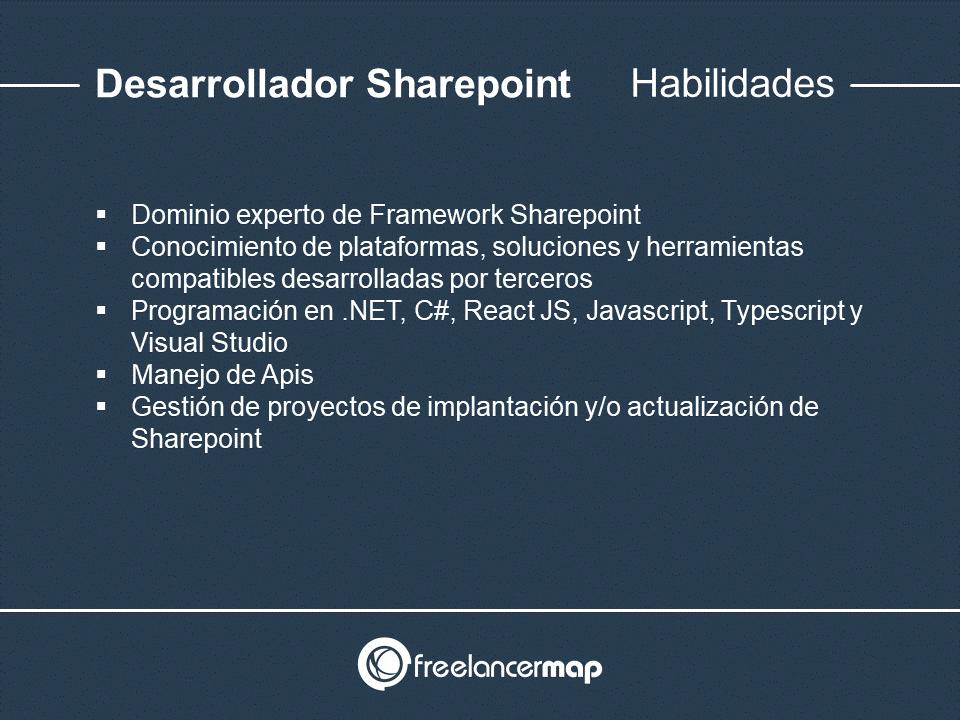 Habilidades y conocimientos del desarrollador Sharepoint