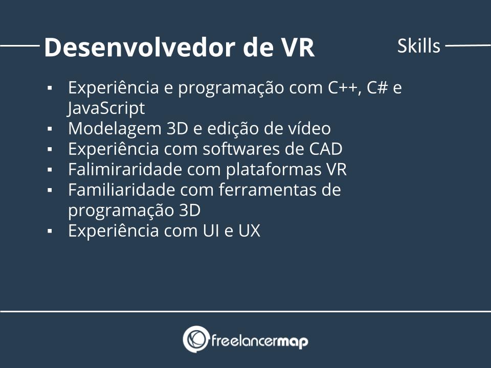 Skills de um desenvolvedor de realidade virtual.