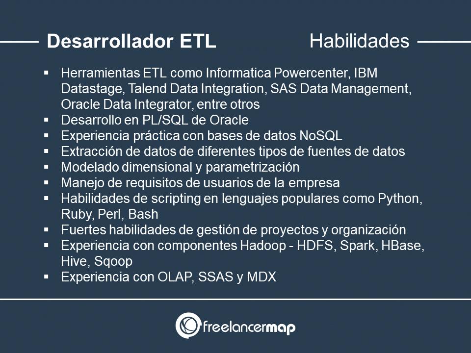 Habilidades y conocimientos del desarrollador ETL