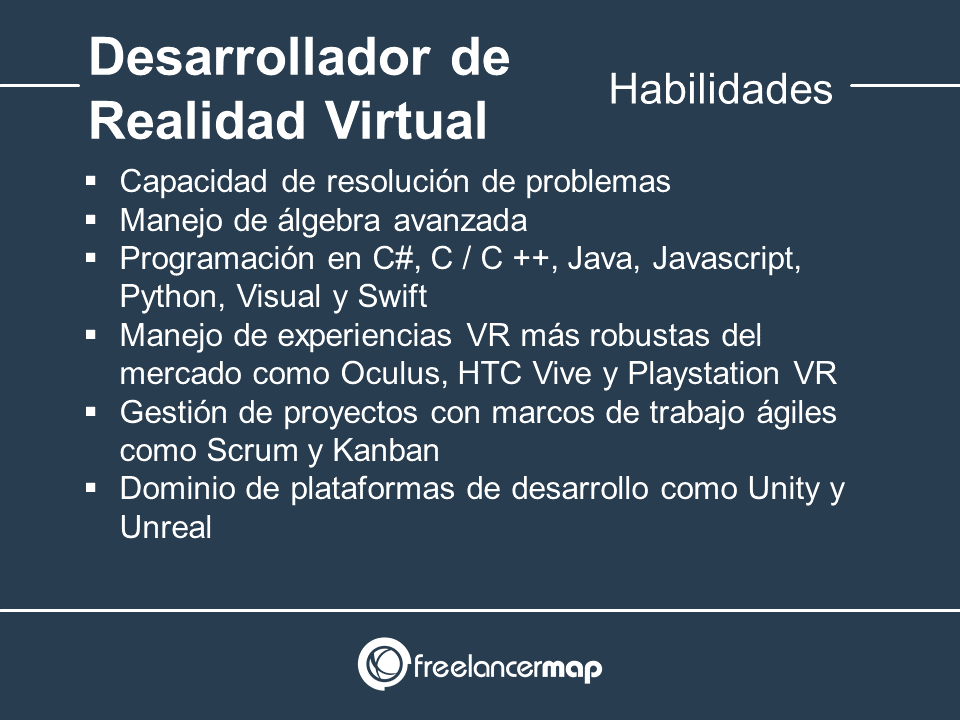 Habilidades y conocimientos del desarrollador de Realidad Virtual
