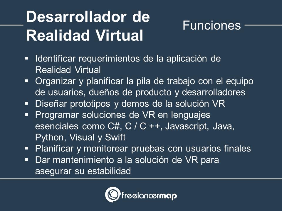 Responsabilidades del desarrollador de Realidad Virtual