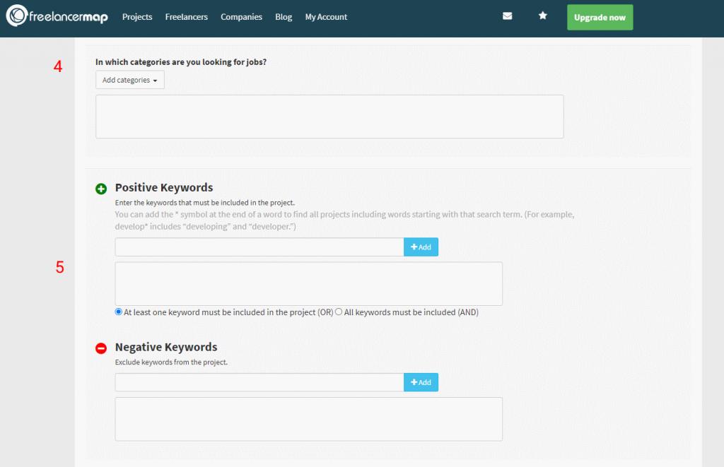 Categorias e palavras-chave da automação de clientes
