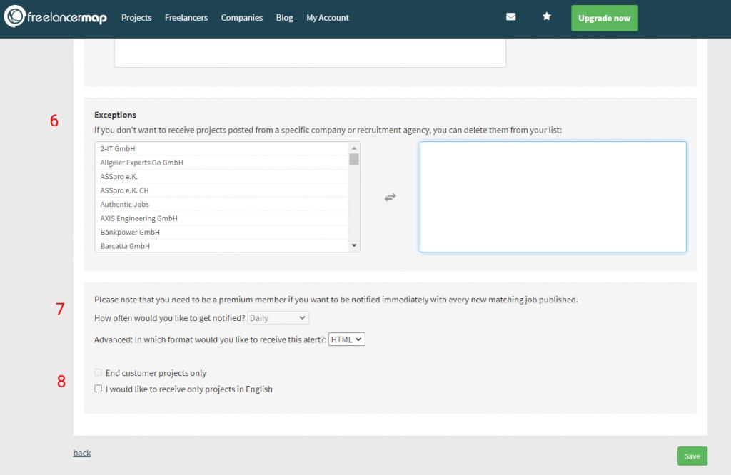 Configuração da automação de clientes no Freelancer Map