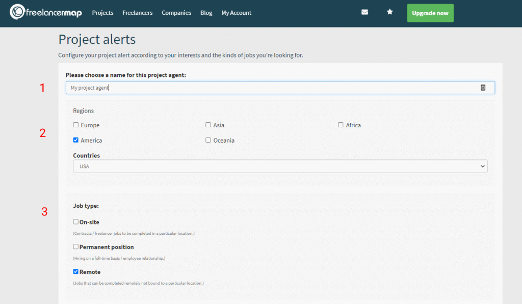 Configuración agente de proyectos - paso 1