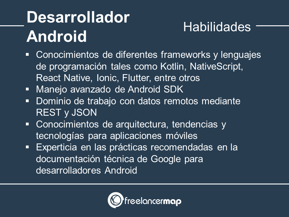 Habilidades y conocimientos del desarrollador Android