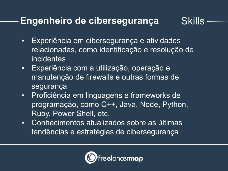 Skills de um engenheiro de cibersegurança.