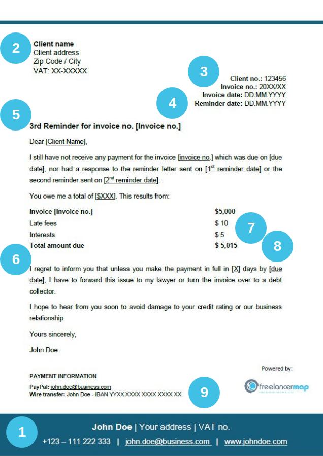 Información a incluir en carta de cobro final