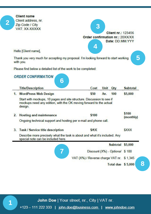 Order Confirmation For Freelancers Free Template Tips