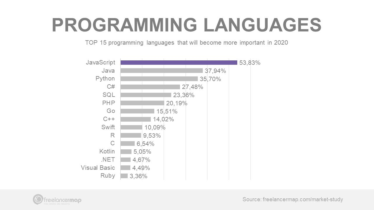 Top programming languages in 2020 IT Freelancer suevey